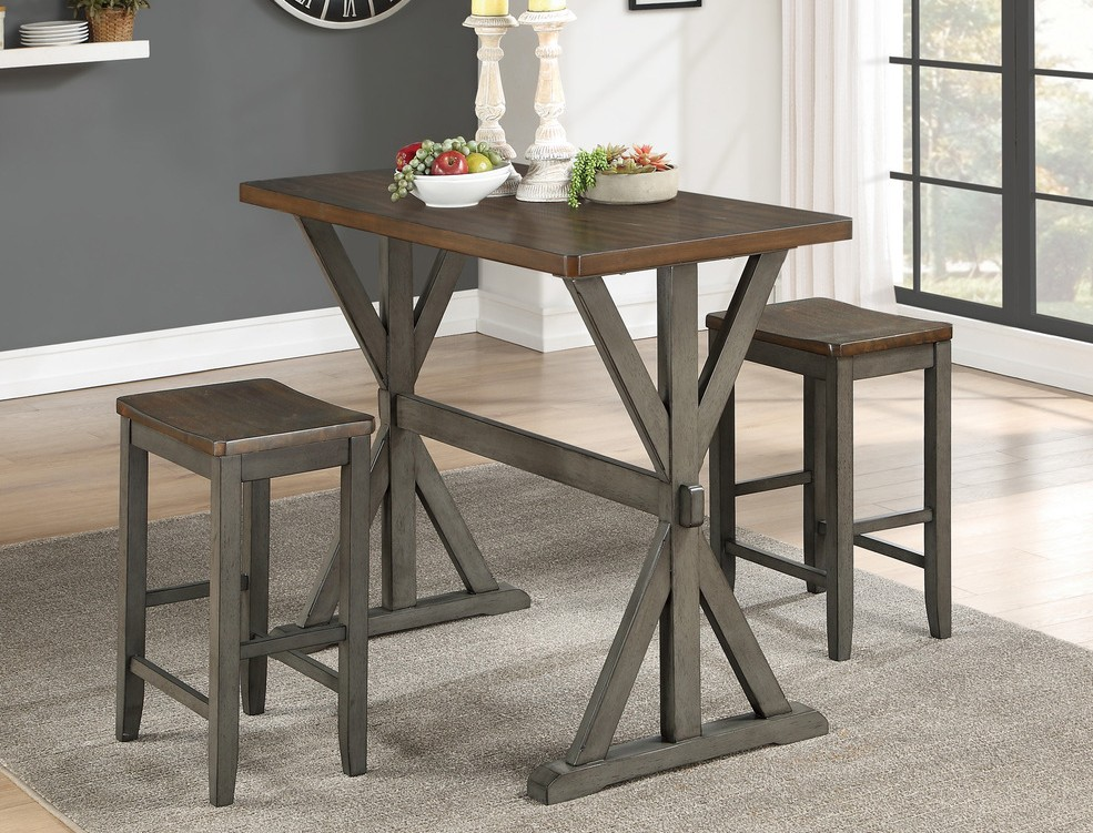Homelegance 5717-32 3 pc Canora grey two tone gray and cherry finish wood counter height dining table set