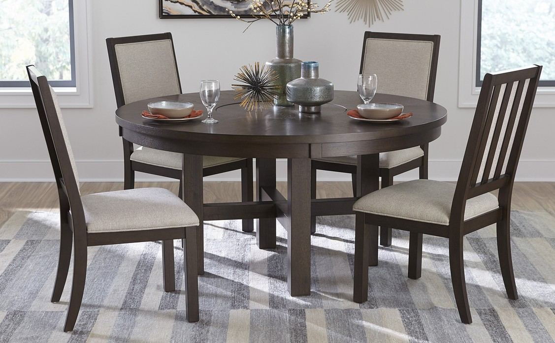 """Homelegance 5718-60-5PC 5 pc Canora grey Josie espresso wood 60"""" round dining table set with lazy susan"""
