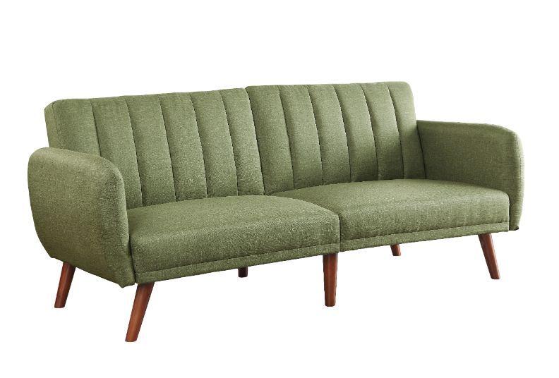 Acme 57194 A&J Homes studio green linen like fabric adjustable sofa futon bed