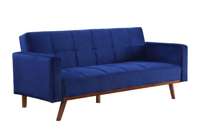 Acme 57205 A&J Homes studio blue velvet like fabric adjustable sofa futon bed