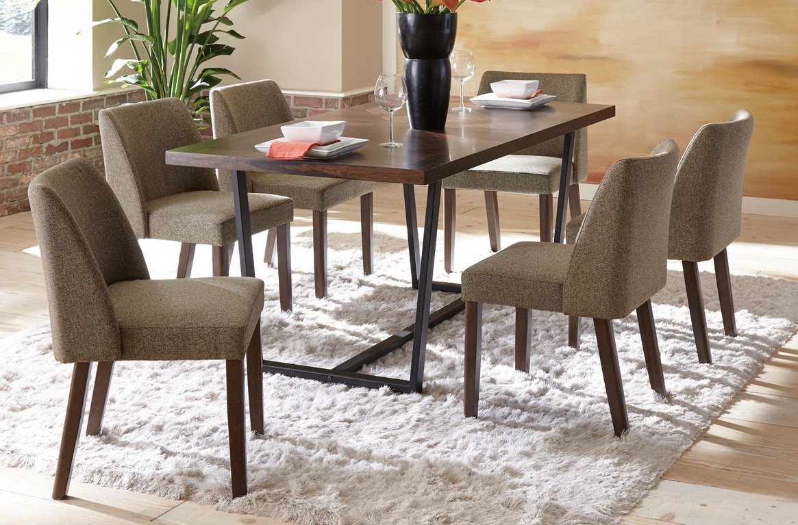 Homelegance 5735-7PC 7 pc Darby home co leland warm brown finish wood and black metal dining table set