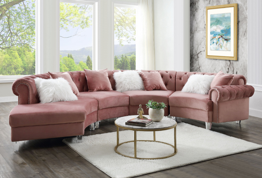 Acme 57360 4 pc Waldorf park ninagold pink velvet like fabric curved half circle tufted sectional sofa with chaise