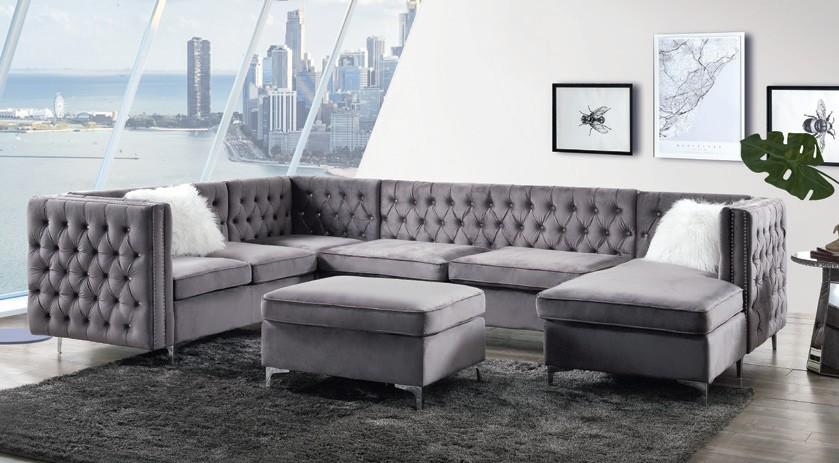 Acme 57370 7 pc Rosdorf park Bois gray velvet fabric modular sectional sofa tufted backs