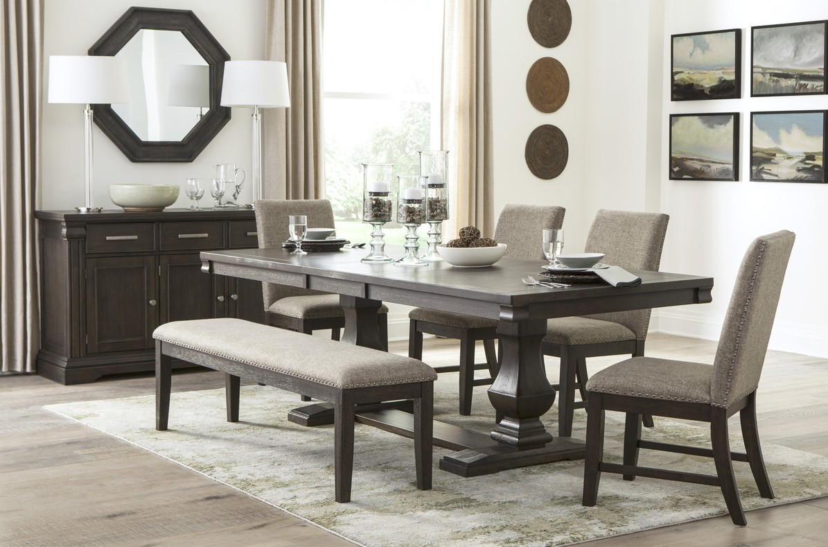 Homelegance HE-5741-94 6 pc Darby home co southlake wire brushed rustic brown finish wood dining table set with bench