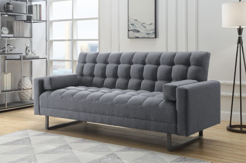 Acme 58260 Ivy bronx pender grey tufted fabric adjustable sofa futon bed with arms