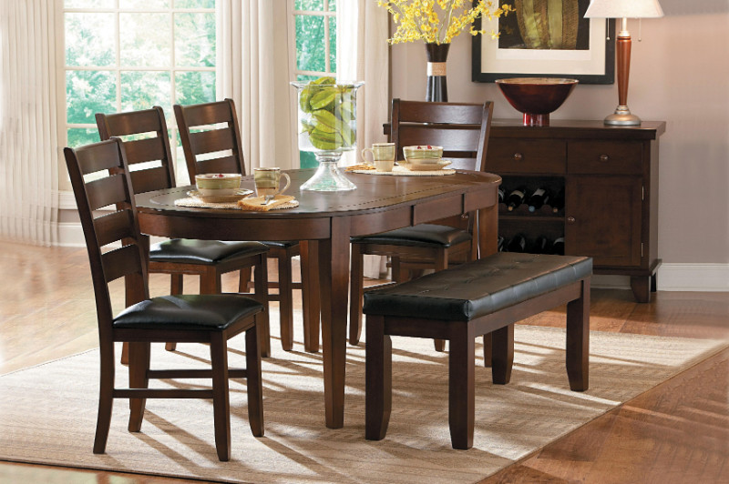 Homelegance 586 76 6 Pc Ameillia Dark Oak Finish Wood Oval Dining Table Set Vinyl Padded Seats