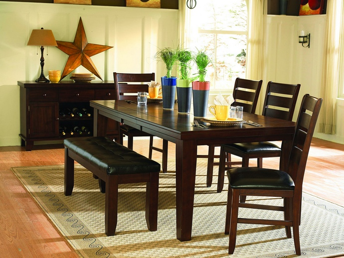 HE-586-82 6 pc Ameillia collection dark oak finish wood dining table set with vinyl padded seats and butterfly leaf