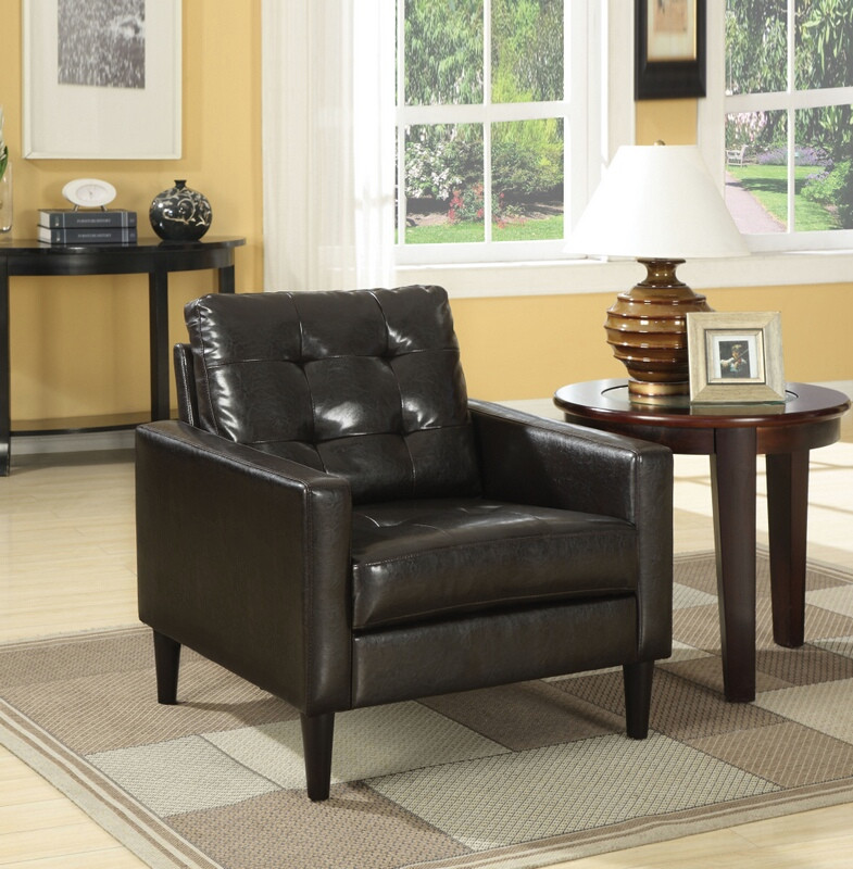 ACM59046 Balin espresso leather like vinyl squared arm side chair with button tufted back and slim legs