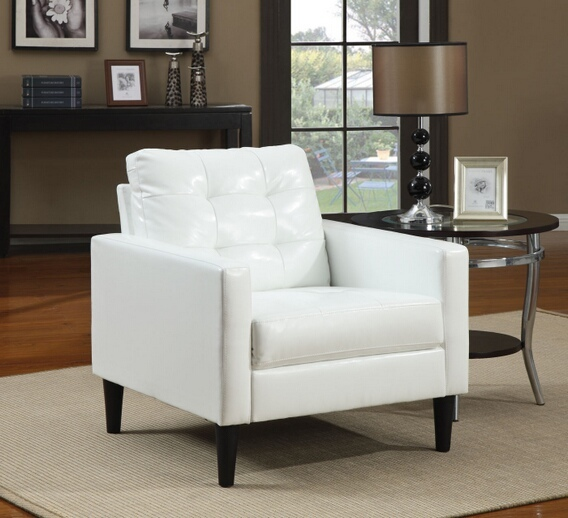 ACM59048 Balin white leather like vinyl squared arm side chair with button tufted back and slim legs