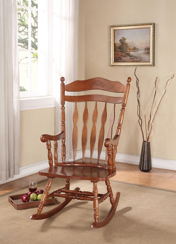 Acme 59209 Kloris dark walnut finish wood curved slatted design back rocking chair