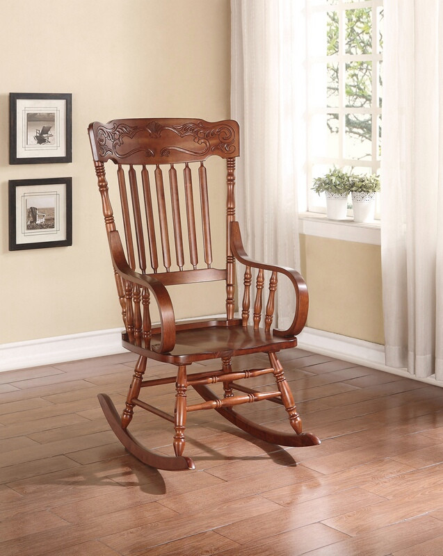 Acme 59210 Kloris tobacco finish wood presswood design back rocking chair