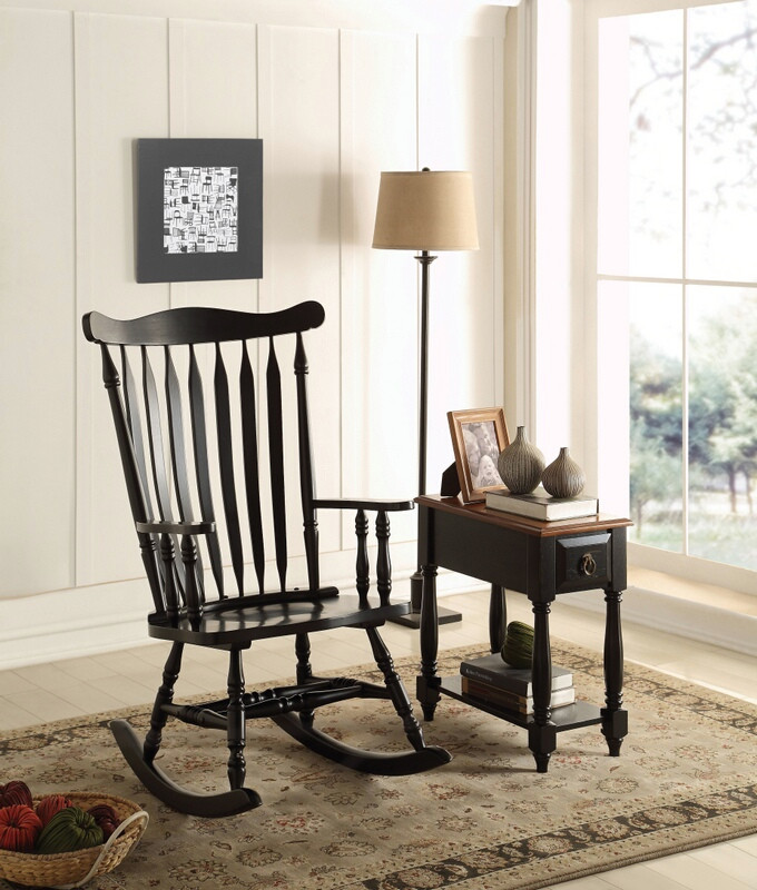 Acme 59211 Kloris ii black finish wood curved slatted design back rocking chair