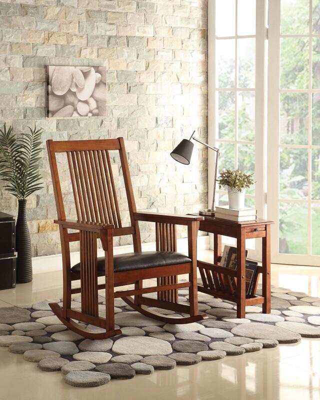 Acme 59214 Kloris ii tobacco finish wood straight line slatted mission design back rocking chair