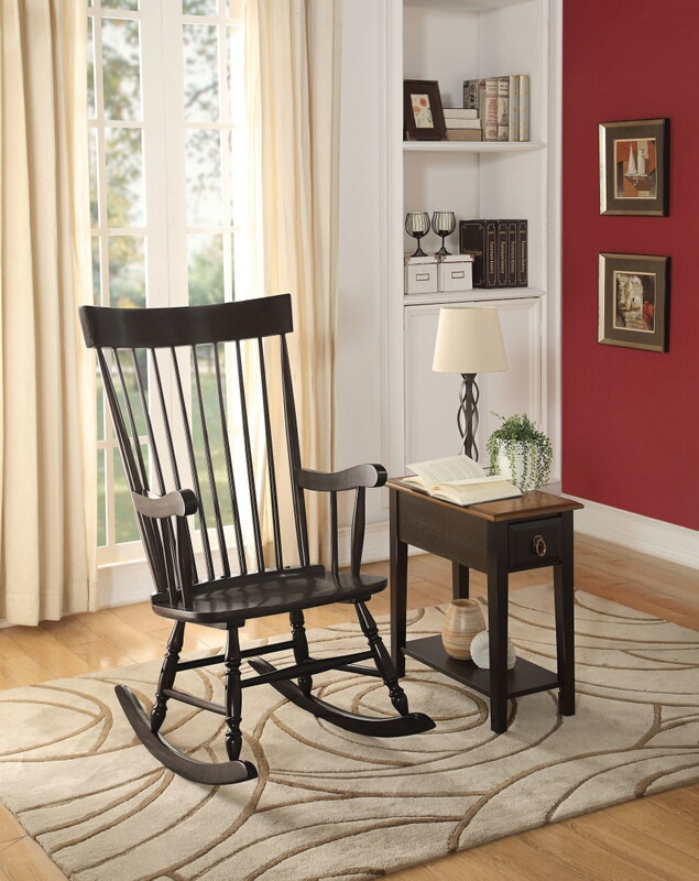 Acme 59297 Arlo black finish wood curved spindled design back rocking chair