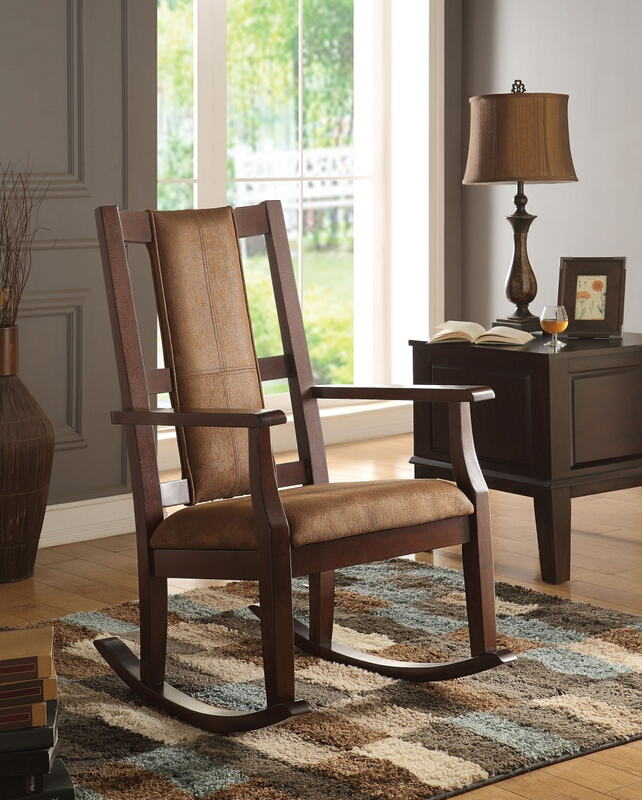 ACM59378 Butsea collection espresso finish wood and brown fabric upholstered rocking chair