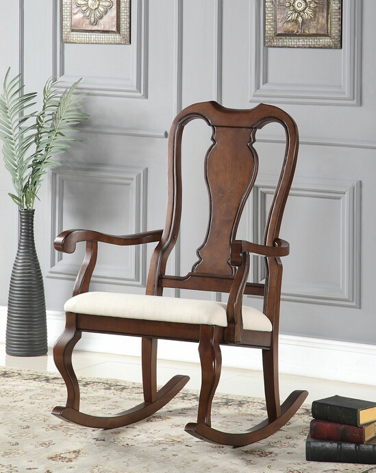 ACM59382 Sheim collection cherry finish wood and beige fabric upholstered queen anne style rocking chair