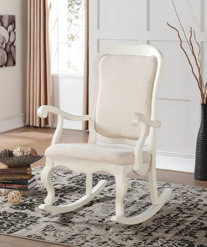 ACM59388 Sharan collection antique white finish wood and padded seat rocking chair