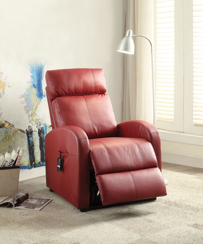 Acme 59406 Ricardo red faux leather electric lift recliner chair