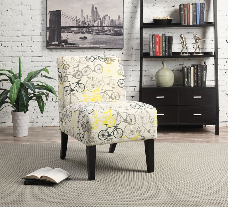 Acme 59438 Ollano ii bicycles pattern fabric accent chair with wood legs