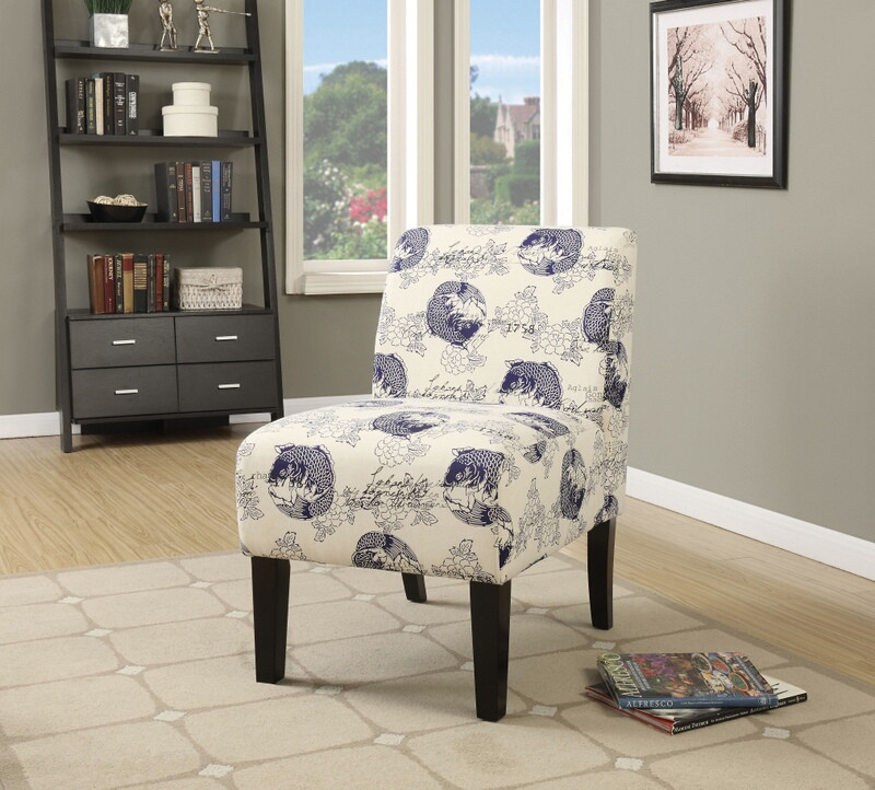 ACM59439 Ollano ii collection koi fish floral pattern fabric upholstered accent chair with wood legs