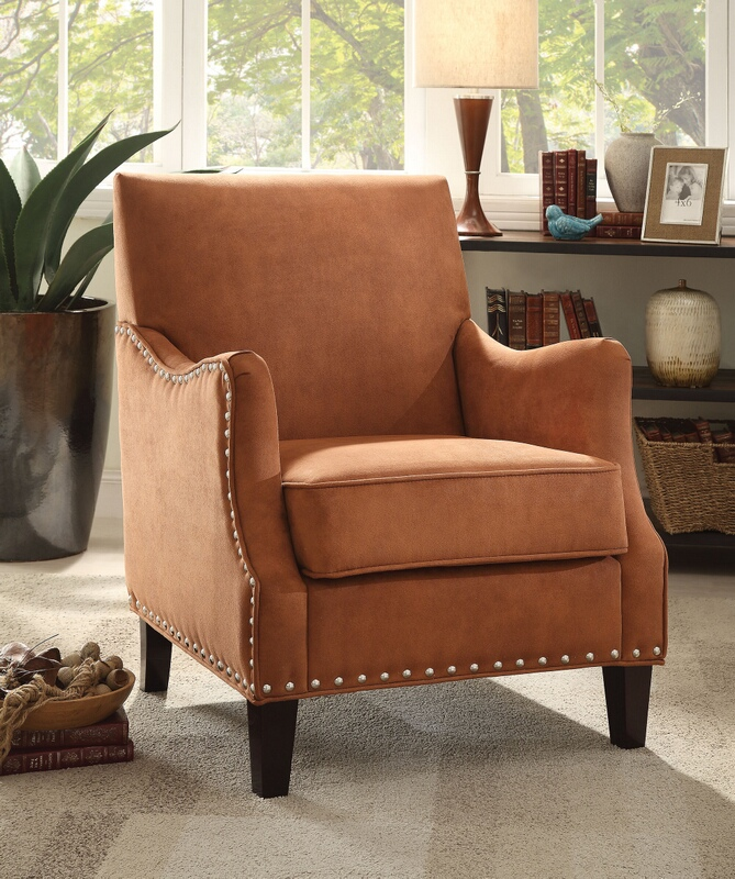 Acme 59445 Sinai orange fabric upholstered accent chair with nail head trim