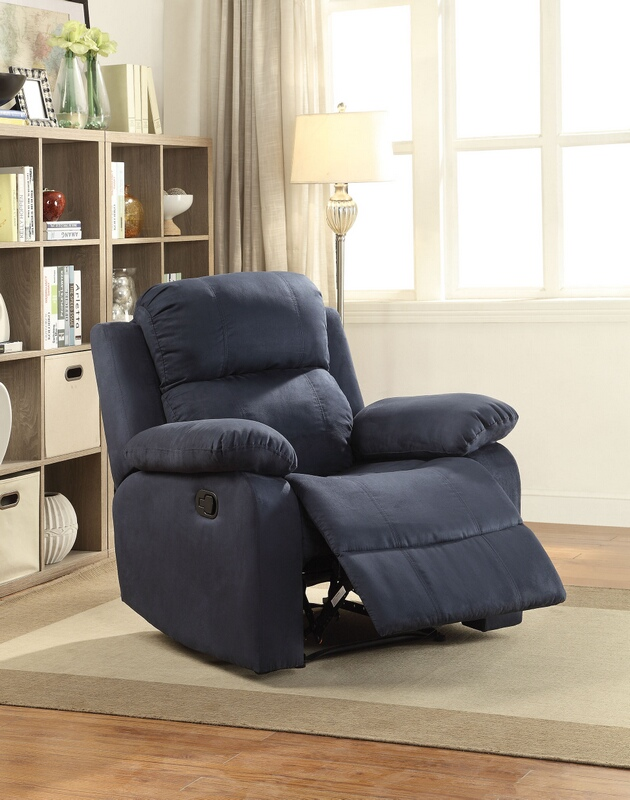 Acme 59476 Parklon Blue Microfiber Fabric Recliner Chair With Overstuffed  Seats And Arms