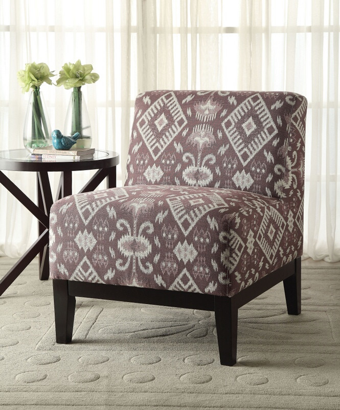 Hinte geometric pattern fabric accent chair with wood legs