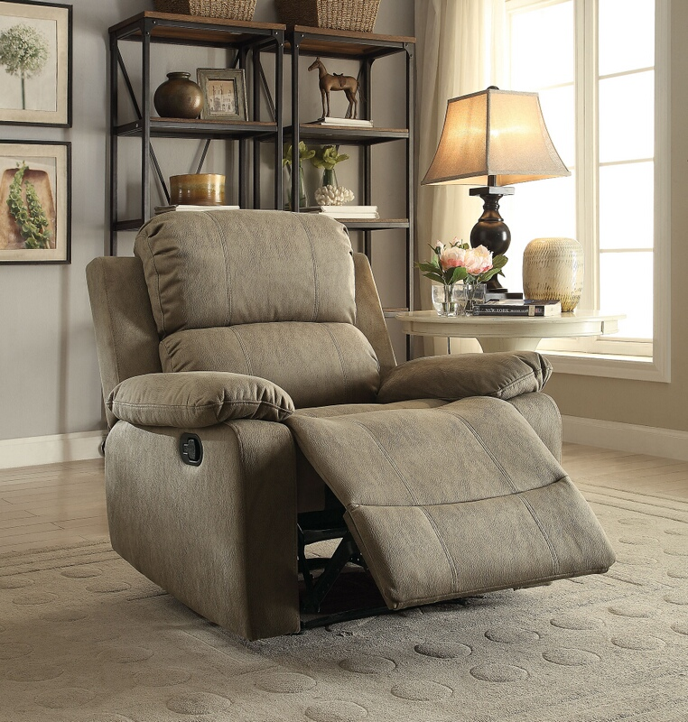 Acme 59527 Bina taupe polished microfiber fabric recliner chair with memory foam seating