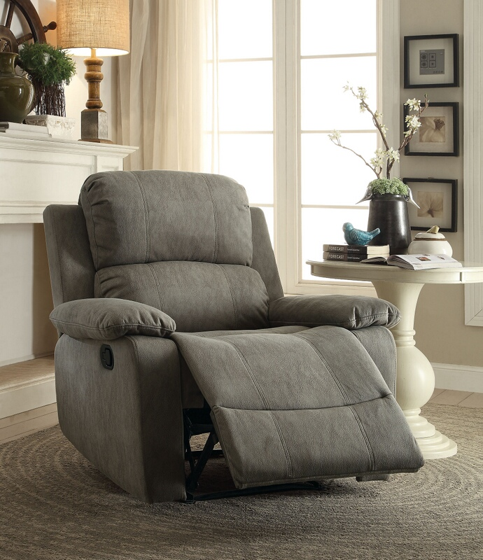 Acme 59528 Bina gray polished microfiber fabric recliner chair with memory foam seating