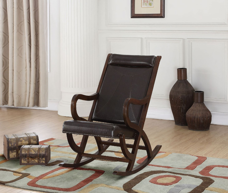 Acme 59535 Canora grey bethany triton walnut finish wood and faux leather upholstered rocking chair