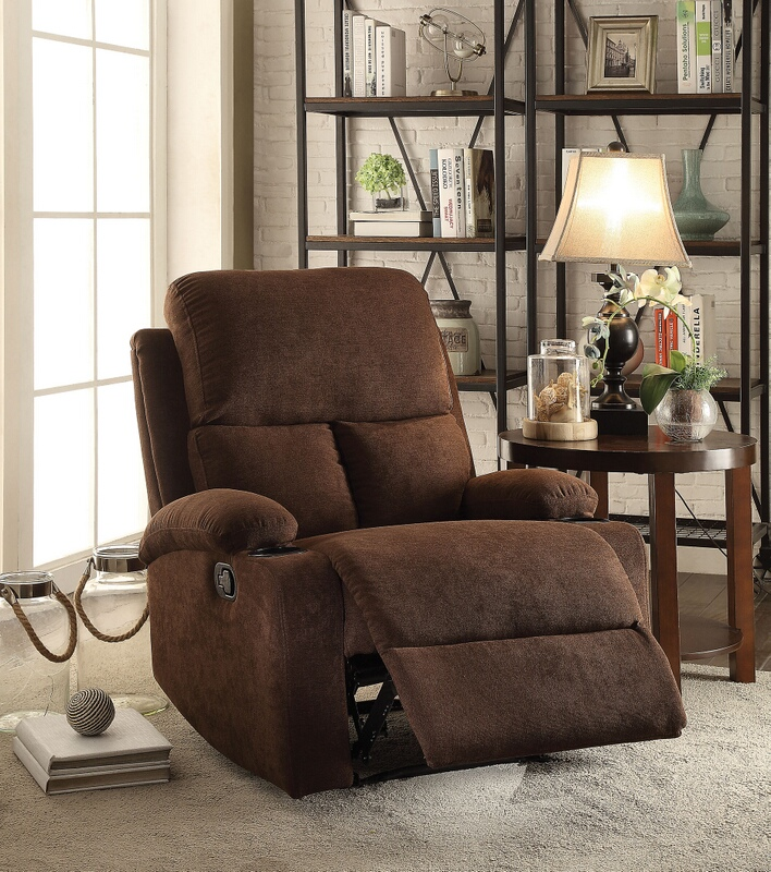 Acme 59547 Rosia chocolate linen fabric recliner chair with cup holders