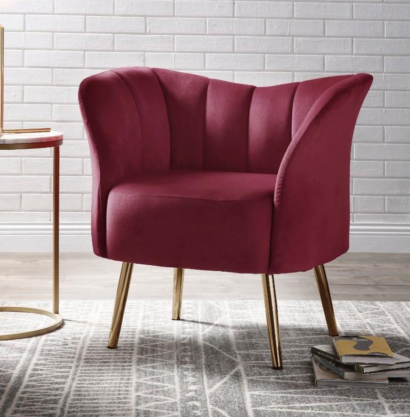 Acme 59795 Everly quinn huguenot reese burgundy fabric accent chair with golden metal legs