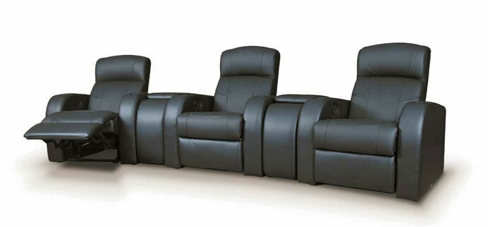 CST600001-02 5 pc Cyrus collection black top grain leather upholstered modular theater seating sectional