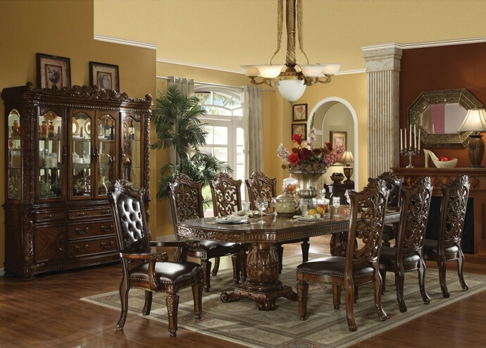 ACM60000 7 pc Vendome cherry finish wood double pedestal dining table set with leather like vinyl upholstered chairs