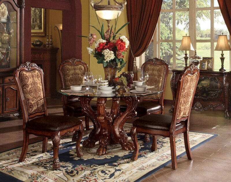 ACM60010 5 pc Dresden collection cherry oak finish wood round glass top pedestal dining table set with fabric and leather like vinyl upholstered chairs with decorative carved backs