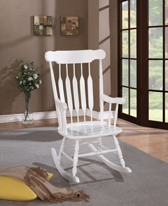 600174 August grove singleton white finish wood arrow back design rocking chair