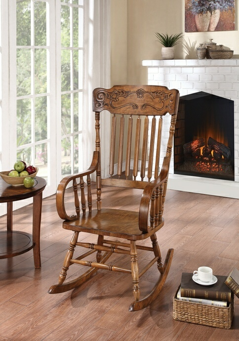 600175 August grove dotson warm brown finish wood pressback rocking chair