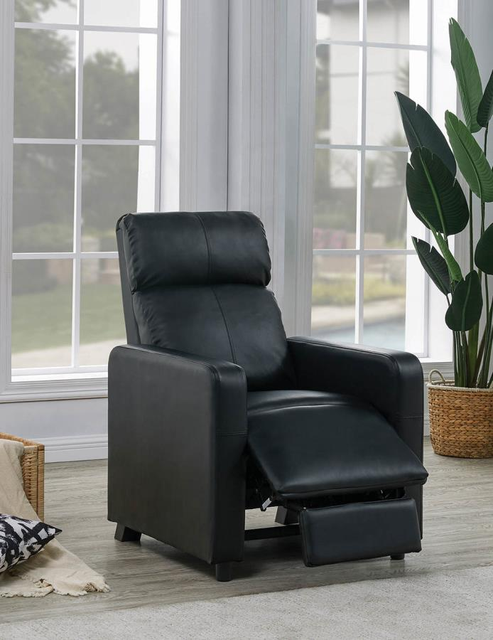 600181 Mid century modern black faux leather push back recliner chair