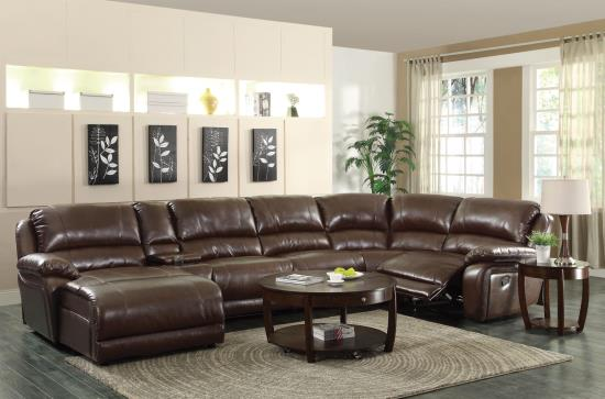 CST600357 6 pc Mackenzie collection chestnut bonded leather match motion sectional sofa set with chaise and recliners
