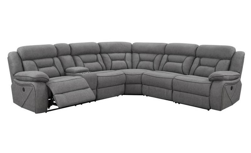 600370 4 pc Latitude run mowgli camargue gray coated microfiber power motion sectional sofa with recliners on the ends