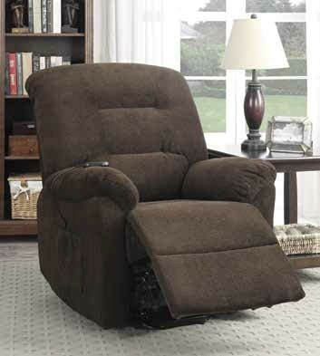 CST600397 Mabel collection chocolate textured chenille fabric upholstered power lift recliner chair