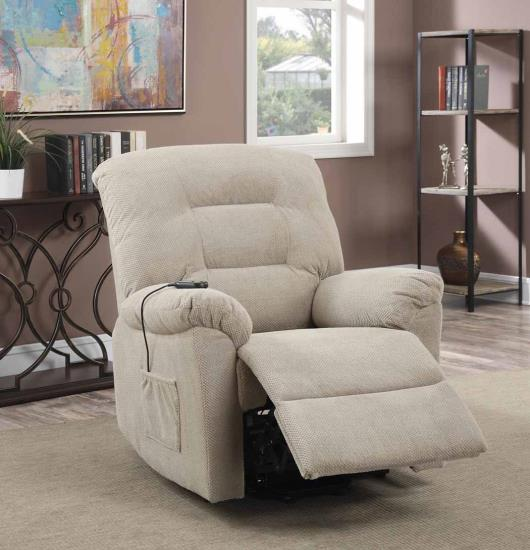 CST600399 Mabel collection taupe textured chenille fabric upholstered power lift recliner chair