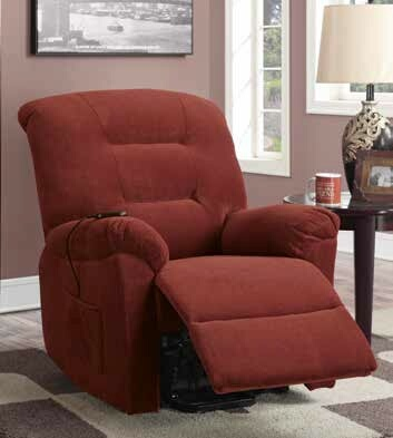 CST600400 Mabel collection brick red textured chenille fabric upholstered power lift recliner chair