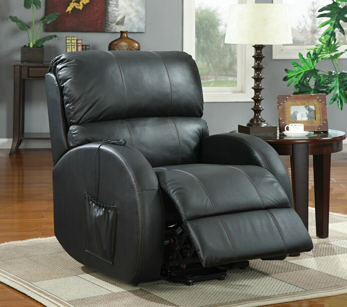 CST600416 Mabel collection black top grain leather match upholstered power lift recliner chair