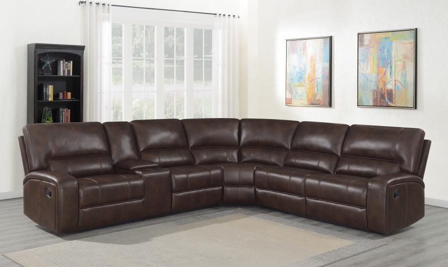 600440 3 pc Red barrel studio shealey Brunson brown leatherette motion sectional sofa set