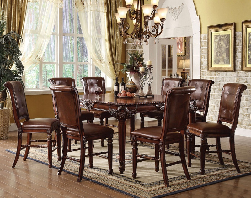 ACM60080 9 pc Winfred collection cherry finish wood counter height dining table set with leather like vinyl padded chairs