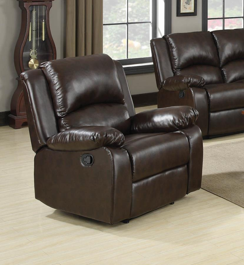 600973 Casual tri tone brown faux leather recliner chair