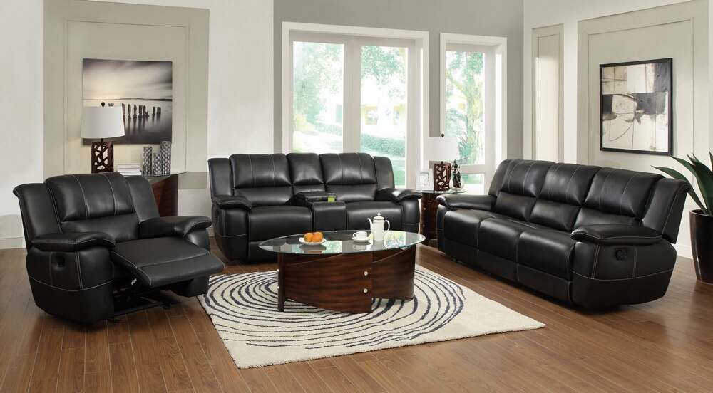 CST601061 3 pc Lee collection black bonded leather match Reclining sofa with drop down arm, Love seat with console and recliner