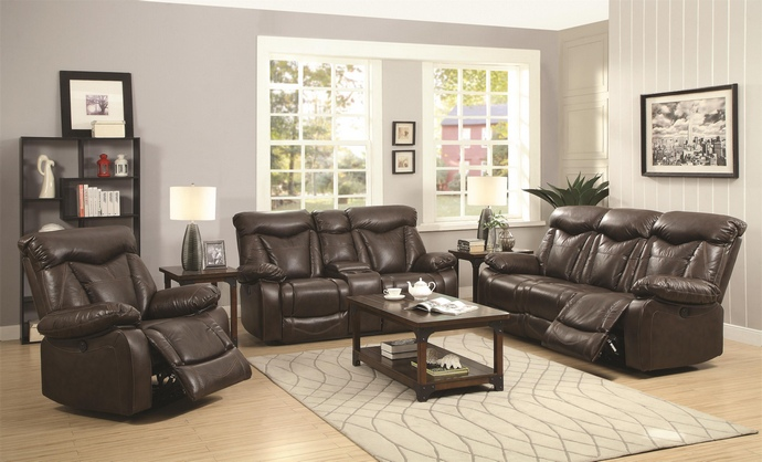 CST601711-12 2 pc Zimmerman collection transitional style dark brown padded faux leather upholstered standard motion sofa and love seat with recliner ends
