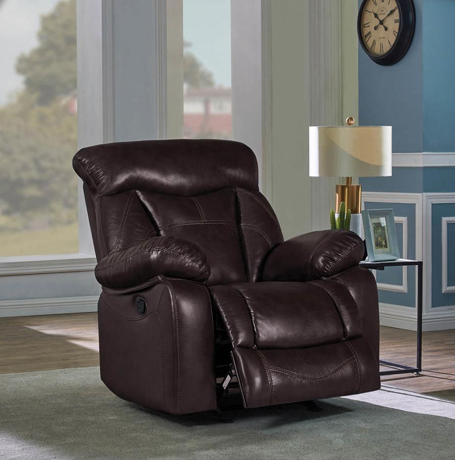 601713 Traditional dark brown faux leather glider recliner chair